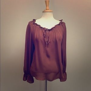 Parker brown silk drawstring neck peasant top